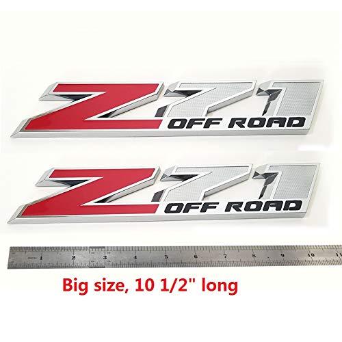 Yoaoo 1x OEM 10 Inches Big Chrome Z71 Off Road Emblems for Gmc Chevy Silverado Sierra Suburban 2500Hd Red