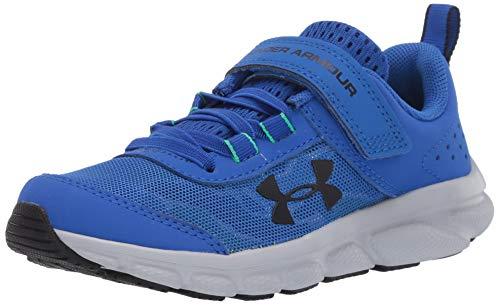 Under Armour Kids' Pre School Assert 8 Alternate Closure Sneaker, Versa Blue (403)/Vapor Green, 1.5