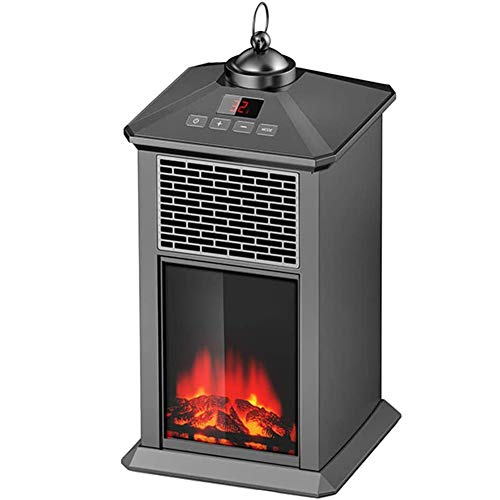 WLHER Electric Fireplace Heater, Freestanding Fireplace Stove with Realistic 3D Flame, Adjustable Temperature, with Remote Control Overheating Protection Quiet The Best Heating in Room,Black