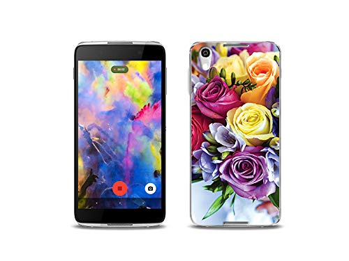 etuo Handyhülle für Alcatel Idol 4 - Hülle, Silikon, Gummi Schutzhülle - Blumenstrauß