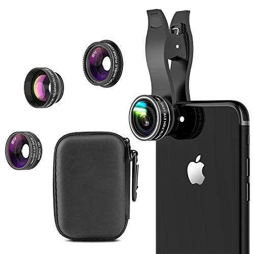 Lentes Móvil 5 en 1 Kit, HAUTIK HD Lentes Tipo Clip-on, Lente Macro + Gran Angular + Ojo de Pez + Polarizador Circular, para iPhone X/8/7/6/Plus, Galaxy S9/S9 Plus/Note 8, Huawei, Xiaomi y Etc.