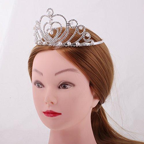 FLAMEER Damen Silber Kristall Stirnband Hochzeit Braut Tiara Crown Haarschmuck - Silber Weiss #4