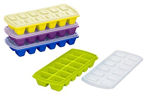 Kigima Eiswürfelbereiter, Eiswürfelform, Babynahrungsbehälter mit Deckel 4er Set für 48 Eiswürfel