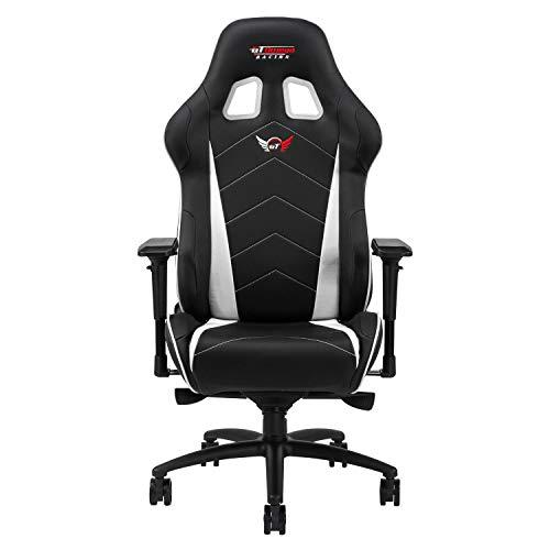 GT OMEGA PRO XL Racing Gaming Stuhl mit Lendenwirbelstütze - Ergonomischer PVC Leder Bürostuhl mit 4D verstellbare Armlehne & Recliner - Esport Sitz für Gaming Experience, Schwarz Weiter Weiß