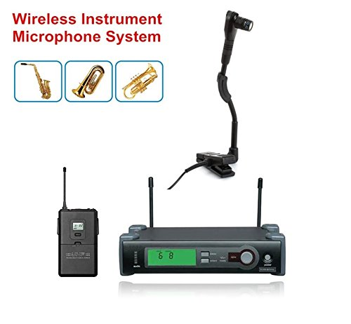 Bolymic UHF True Diversity Professional Wireless Instrument Microphone for Saxophone Tuba Trumpet