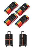 Ensemble de 4 courroies de bagages réglables Ceintures de valise Accessoires de voyage Sangles pour sac avec serrure à combinaison à 3 cadrans