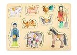 Small Foot Company-11500 Rompecabezas de Encaje La Granja y la Vida en el Campo de Madera con Diferentes Motivos,a Partir de los 12 Meses juguetes, Multicolor (11500) , color/modelo surtido