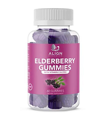 Elderberry Gummies- Sambucus Nigra with Zinc and Vitamin C- Gluten Free and Vegan- Immune Support-Relief from Cold and Allergies-Antioxidant Support- 60 Gummies