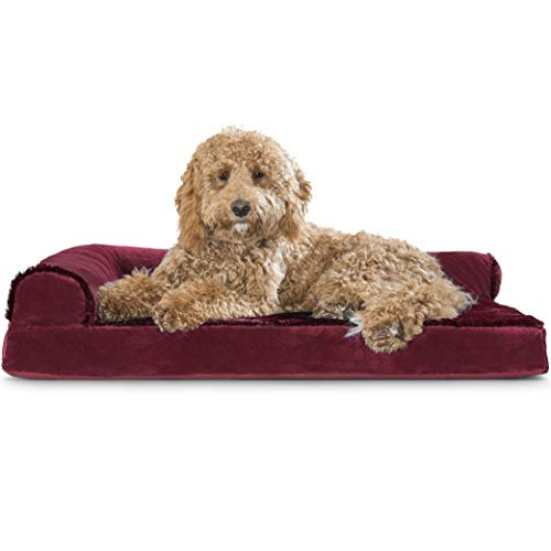 Furhaven Pet Dog Bed - Deluxe Orthopedic Plush Faux Fur & Velvet L Shaped Chaise Lounge Living Room Corner Couch Pet Bed w/ Removable Cover for Dogs & Cats, Merlot Red, Large