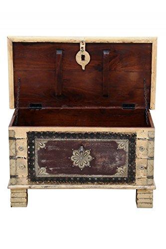 Orientalische Truhe Kiste aus Holz Chayma 80cm groß | Vintage Sitzbank mit Aufbewahrung für den Flur | Aufbewahrungsbox mit Deckel im Bad | Betttruhe als Kissenbox oder Deko im Schlafzimmer - 5