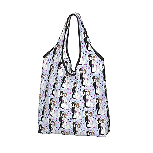 Shopping Bags for Women,Reusable Foldaway Eco Tote Shoulder Bags for Groceries Travel Picnic Storage and Practical for Daily Use-James And Anna Dolls Graduation Diploma Cap Gown