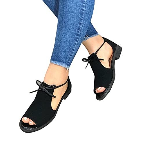 VELIHOME Sandália rasteira feminina, confortável peep toe sandália de salto plano, com sola de borracha antiderrapante, tecido fosco, design de laço frontal