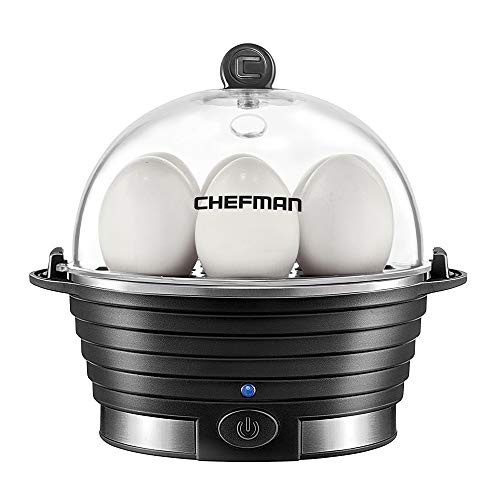Chefman Electric Cooker Boiler, Rapid Poacher, Food & Vegetable Steamer Quickly Makes 6 Eggs, Hard, Medium or Soft Boiled, Poaching/Omelet Tray Included, Ready Signal, BPA-Free, Black
