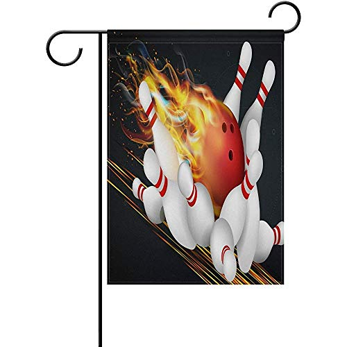 fingww Home Flag Rote Bowlingkugel Flames Ative Black Flags Willkommen Garten Flagge Banner Double Side Holiday Außerhalb Decoratio Outdoor Print 32X48Cm