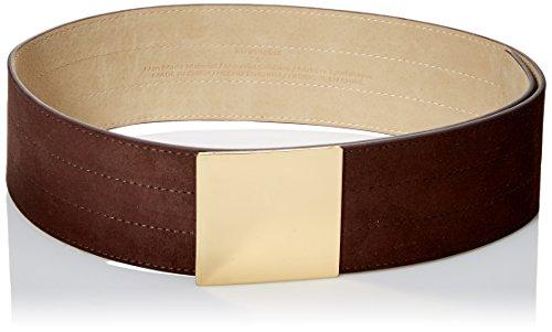 Steve Madden Damen Breiter Wildledergürtel mit rechteckiger Plakette -  Braun -  Large