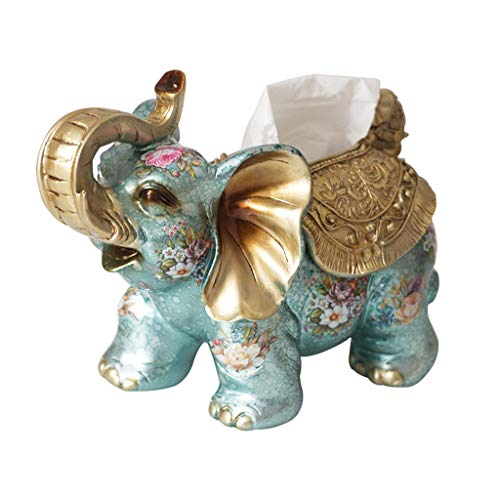 Paper towel Cleaning Tissues Tissue Box Elephant Tissue Box Tray American Tray Home Living Room Decoration Storage Box Napkin Bedroom Storage Box (Color : Blue, Size : 29cm10cm22cm)