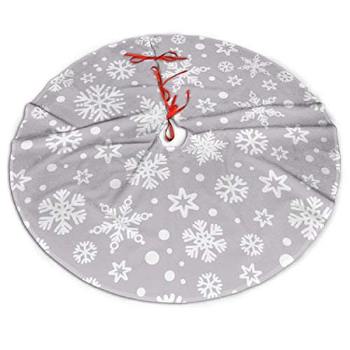 MSGUIDE White Snow Christmas Tree Skirt Large Tree Mat for Xmas New Year Festive Holiday Party Decorations 48 Inch