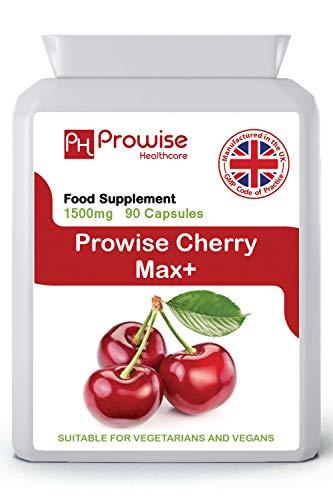 Cherry Max 1500 mg 90 capsules Cerises Montmorency haute résistance - Fabriquées au Royaume-Uni   Normes GMP de Prowise Healthcare