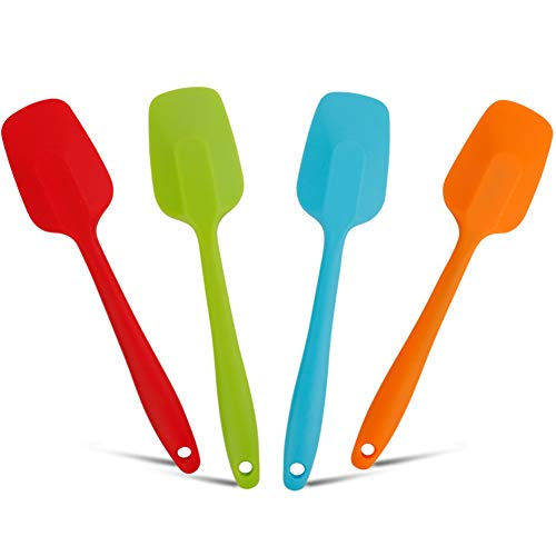 Stouge Silicone Spatulas 4 Pack set, 11inch Large Heat-Resistant Non-Stick Silicone Rubber Spoon Spatula Non-Stick Spoonula Flexible Scrapers Baking Mixing Tool