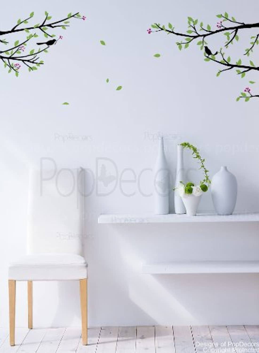 PopDecors  Elegant tree branch with birds  Beautiful Tree Wall Decals for Kids Rooms Teen Girls Boys Wallpaper Murals Sticker Wall Stickers Nursery Decor Nursery Decals PT0128FBA