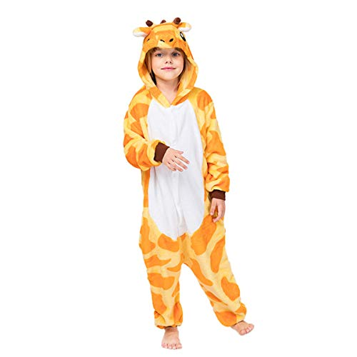 Debaijia Kinder-Pyjama aus Flanell/ Jumpsuit für Jungen und Mädchen, Warme Nachtwäsche, 3 bis 11Jahre Gr. 125(Hauteur recommandée: 130-143cm), Giraffe, gelb.