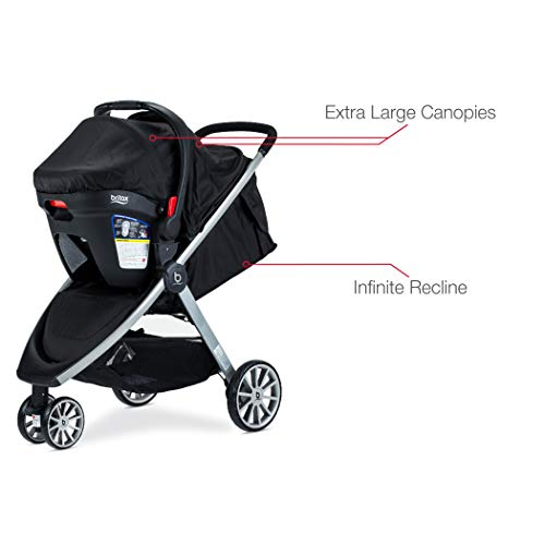 Britax B-Lively Travel System with B-Safe 35 Infant Car Seat | One Hand Fold, XL Storage, Ventilated Canopy, Easy to Maneuver, Ashton