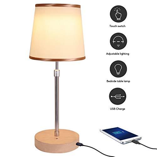 JOWHOL Nachttischlampe Touch Dimmbar, LED Tischlampe mit USB lüssen Dekorative Nachttisch-Leuchte für Schlafzimmer