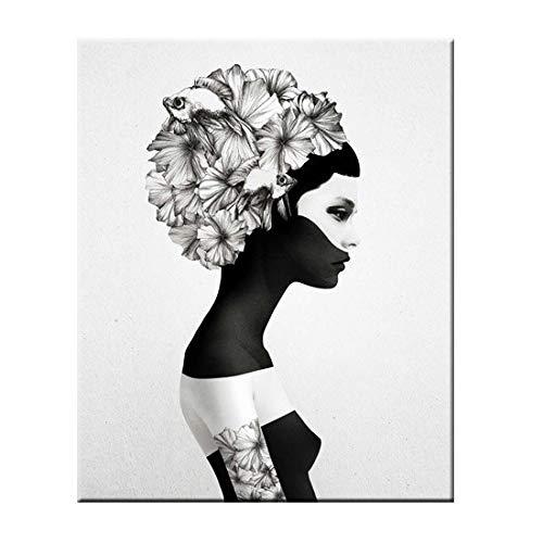 fdgdfgd Cartel nórdico clásico Mariposa en Blanco y Negro Mujer Pared Arte Lienzo impresión Pintura Mural Pintura sin Marco