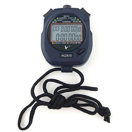 JZK Cronometro Digitale Professionale con Batteria e Cordino, cronometro Sportivo Palestra Timer Sveglia Conto rovescia, 2 Righe 10 Memoria, PC2810