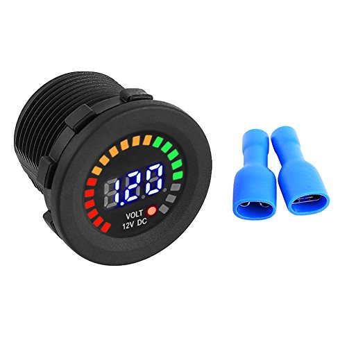 12V DC Digital Voltmeter LED Digital Display,Volt Gauge Tester Meter Waterproof for for Marine Car Motorcycle Truck Boat RV Black