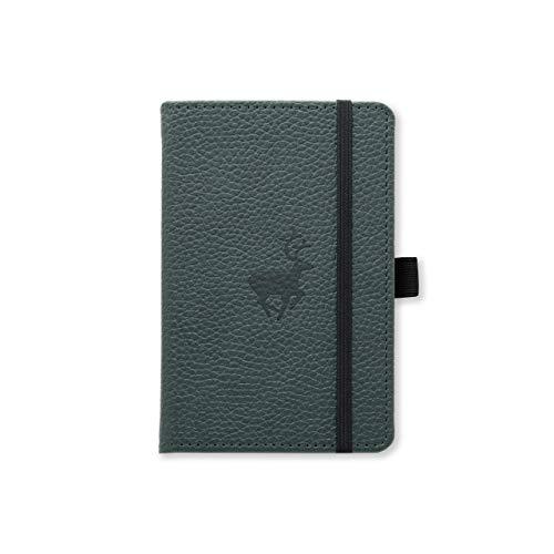 Dingbats Wildlife Dotted Pocket A6 Hardcover Notebook - PU Leather, Perforated 100gsm Ink-Proof Paper, Pocket, Elastic Closure, Pen Holder, Bookmark (Green Deer)