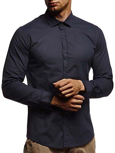 Leif Nelson LN3430 Chemise blanche pour homme Coupe slim à manches longues Noir Stretch Chemise de loisirs pour garçon Chemise à manches longues pour le travail, le mariage, les loisirs - Bleu - Small