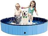 BingoPaw Piscina Perros Grande, Piscina para Perros Plegable XXL Bañera Infantil PVC Antideslizante y Resistente al Desgaste con válvura para Interior Exterior 160*30 cm