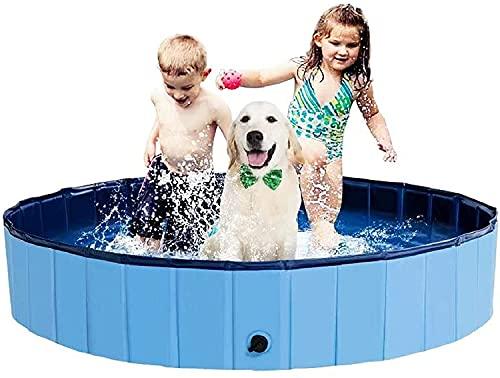 BingoPaw Piscine Chien, Baignoire pour Grand Chien Rigide 160x30 cm Bassine Pliable en Plastique PVC pour Bébé Enfant Chiens