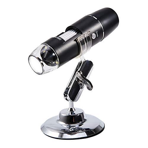 DecentGadget - Microscopio digitale wireless Wifi 50x-1000x USB per microscopio con luci HD 1080P 2MP 8 LED e base universale, per iPhone/iPad/Android/IOS