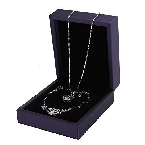 Kleine Schmuckgeschenke für Frauen Nicht allergenes Armband Halskette Geschenk Armband Halskette Kombination, Geschenk, für Damen(Pink)