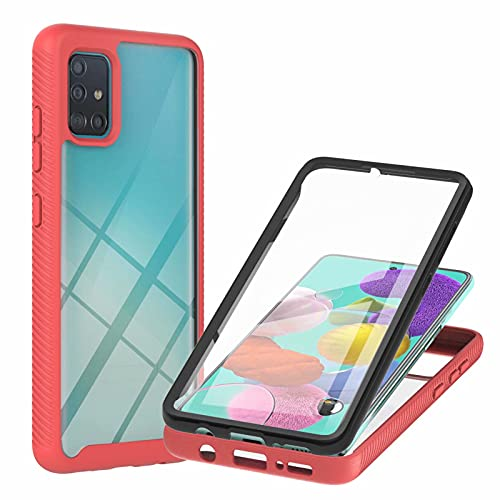 TTNAO Hülle Kompatibel mit Samsung Galaxy A51 4G Handyhülle,PET Material Handyhülle Eingebaute Displayschutzfolie Stylische Schutzhülle Unzerstörbar Bumper Kratzfest Rundumschutz Case-Rot