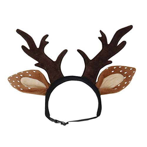Balacoo Dog Antlers Costume Dog Elk Antlers Reindeer Hat Cap Cat Christmas Costume Outfits Cat Headgear Small Large Dog Hat Headgear Hair Care Accessories Small