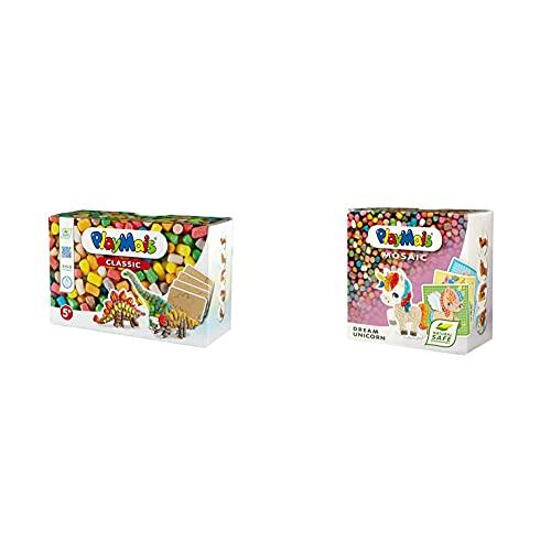 PlayMais 160506 Fun to Play Dinosaur Bastelset, bunt & Mosaic Dream Unicorn Kreativ-Set zum Basteln für Mädchen ab 5 Jahren   Über 2.300 6 Mosaik Klebebilder mit Einhörnern