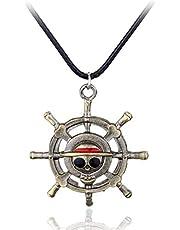 Jewelry Anime One Piece Necklace Pirate Luffy Rudder Skeleton Logo Pendant Necklace