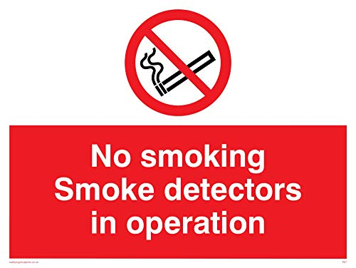 Viking Signs PS7-A3L-AC'No Smoking Smoke Detectors In Operation' Sign,...