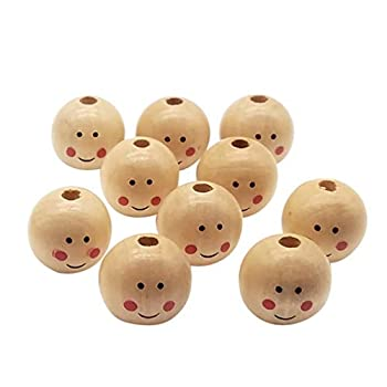 NUOBESTY 20pcs Wood Loose Beads Round Spacer Ball Beads with Hole Boy Smiling Face Doll Head Beads DIY Jewelry Finding Macrame Pendant Crafts 25mm
