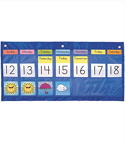 """Carson Dellosa Weekly Calendar with Weather Pocket Chart—Days of The Week, Abbreviations, Numbers, with Weather Condition Illustrations (25"""" x 12.75"""")"""