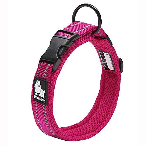 Truelove collar de adiestramiento para perro tlc5011reflectante Premium DuraFlex hebilla en Nylon mascota perro collares en color rosa, alto grado en Nylon No Choke collares básico ahora disponibles
