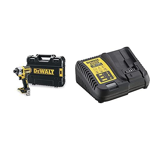 DEWALTDreat DCF887NT-XJ Driver di impatto senza spazzole per XR 18V, 400 W, 18 V, Nero/Giallo & DCB115-QW Caricabatterie per Piattaforma XR Litio, per Batterie 10.8 V, 14.4 V e 18 V