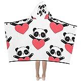 Corazón envolvente Encantador Panda Suave y cálido Niños se visten Con capucha Manta portátil Toallas de baño...