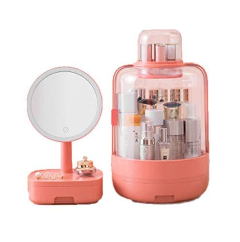 QIN Mirror de maquillaje espejo de vanidad: caja de maquillaje a prueba de polvo, caja de almacenamiento de cosméticos portátiles grande con espejo cosmético LED, soporte de caddie de maquillaje para