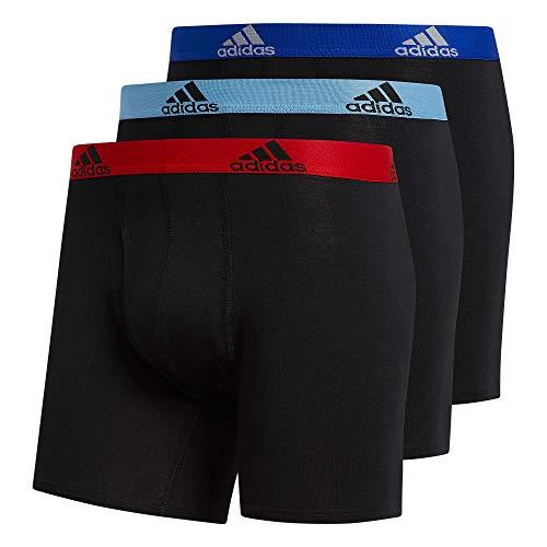 adidas Boxershorts aus Stretch-Baumwolle, 3 Stück, Boxed, Schwarz/Scharlachrot/Blau / Collegiate Lig/2, Größe XXL (Taillengröße 44-46)