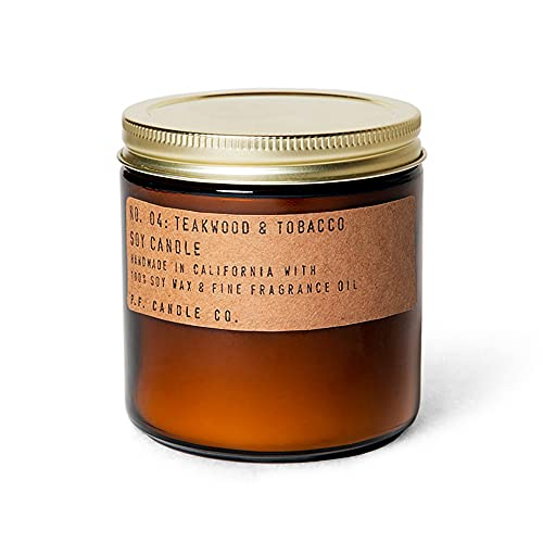 P.F. Candle Co. Teakwood & Tobacco Classic Large Scented Soy Wax Candle (12.5 oz) 60-70 Hour Burn Time, Cotton Wick, Amber Glass Jar