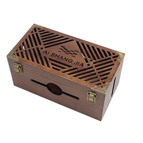 JCNFA Planken Kabelbeheerdoos, Pine Hollow Carving Box, Magnetische deurhouder, Met metalen slot, Flip Cover Design, Houdt draden veilig en georganiseerd, USB-datakabel Opslag 11.41*5.90*5.31in Zwart Walnoot